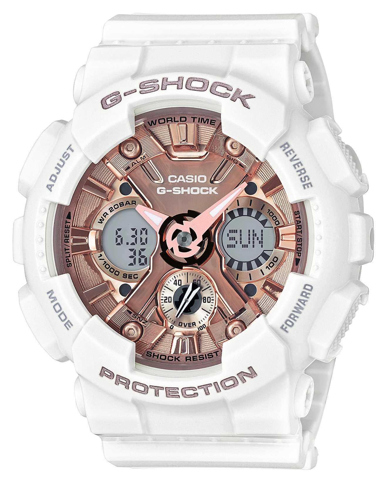 Casio | g-shock blanco y oro rosa | analógico y digital | GMA-S120MF-7A2ER