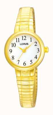 Lorus Oro esfera blanca reloj expansor tono Ladies ' RRS34TX9