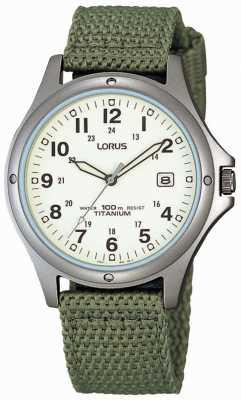 Lorus analógico para hombre de lona verde reloj de la correa RXD425L8