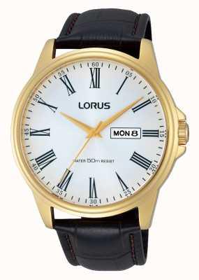 Lorus Reloj para hombre de la fecha de día correa de cuero marrón RXN10DX9