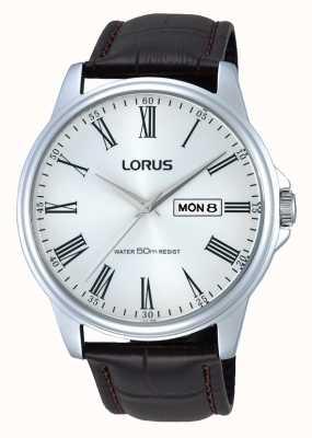 Lorus Mens acero inoxidable marrón correa de cuero reloj RXN11DX9