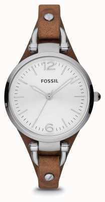 Fossil Cuero reloj de acero inoxidable de las señoras marrones ES3060