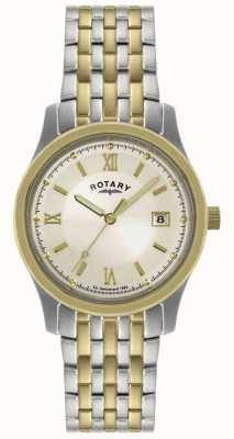 Rotary Caballeros de dos tonos reloj pulsera de acero GBI0793/09