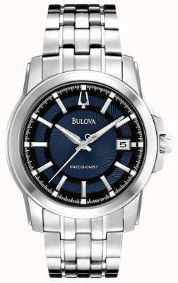 Bulova Reloj de plata azul de precisión para hombre 96B159