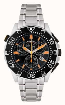 Rotary Para hombre reloj cronógrafo esfera de color negro AGB90036/C/04