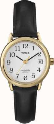 Timex Blanco negro reloj de la correa de cuero de las señoras T2H341