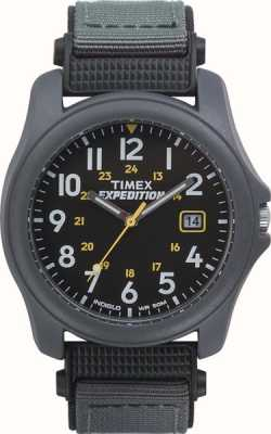Timex reloj de correa de nylon negro para hombre de la cara expedición T42571
