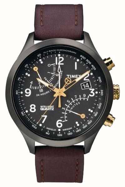 ff891b17d09e Timex Reloj De La Correa De Cuero Para Hombre Del Cronógrafo Iq ...