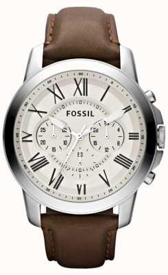 Fossil correa de cuero para hombre del cronógrafo FS4735