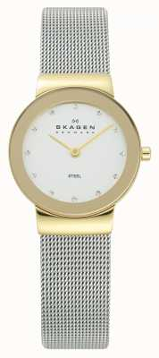 Skagen Reloj de señoras dorado caja de plata de malla pulsera 358SGSCD