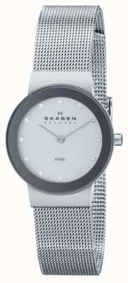 Skagen Analógico reloj de la correa esfera plateada círculo Ladies 358SSSD