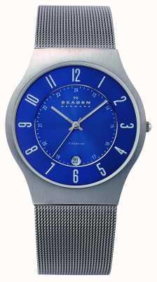 Skagen Mens azul de titanio esfera del reloj de la correa de malla caso 233XLTTN