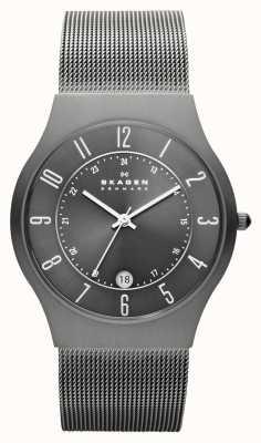Skagen Reloj para hombre de la correa de malla caja de titanio gris 233XLTTM