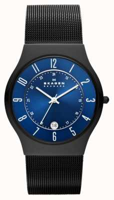 Skagen Mens de titanio negro reloj de correa de acero caso T233XLTMN