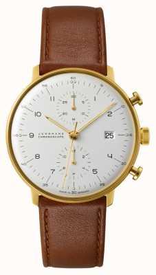 Junghans Max bill chronoscope correa de piel marrón 027/7800.04