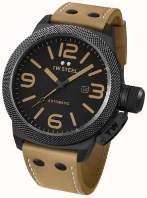 TW Steel Cantina reloj automático 50mm marrón correa de cuero de Gante TWA203