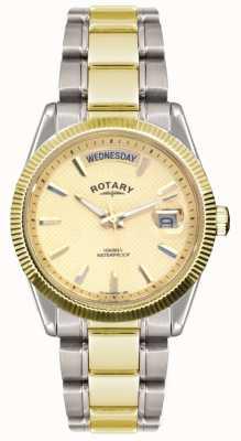 Reloj Caballero Rotary Pulsera Acero Inoxidable Dos Tonos GB02661/20