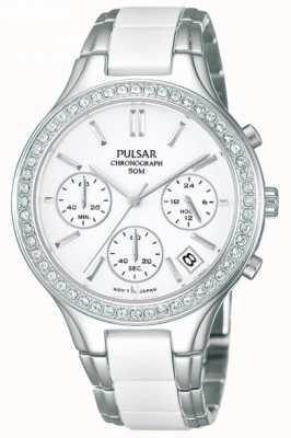 Reloj de Señora Pulsar Cerámica Blanca y Acero Inoxidable, PT3305X1