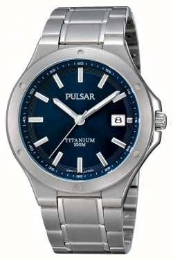 Pulsar Reloj azul de titanio de la exhibición de la fecha de dial del dial PS9123X1