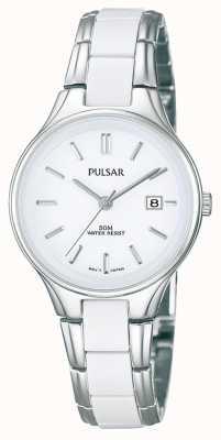 Pulsar Acero blanco de cerámica y acero inoxidable de las señoras, reloj de esfera blanca PH7267X1