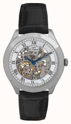 Rotary reloj de la correa de cuero de línea seccionada, para hombre de acero inoxidable Jura GS90508/02