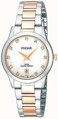 Pulsar Ladies 'two-tone, línea de perlas, cristal de ajuste del reloj PH7313X1
