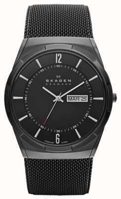 Skagen Mens Aktiv reloj esfera de color negro de titanio de iones chapado en negro SKW6006
