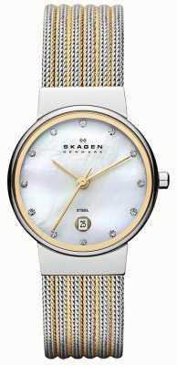 Skagen Ladies 'dos tonos, la línea de perlas, cristal de reloj bisel engastado 355SSGS