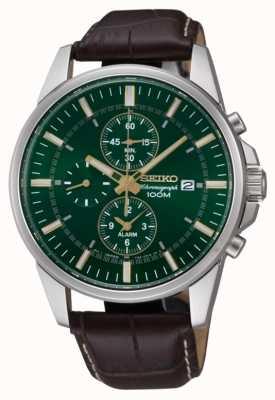 Seiko Hombres de acero inoxidable de línea verde marrón de cuero de alarma crono SNAF09P1