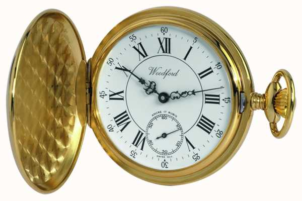 Woodford Gold-placa, romano, esfera blanca, reloj de bolsillo mecánico 1009