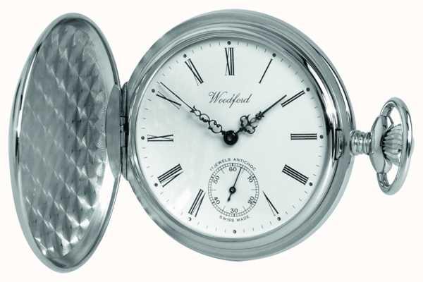 Woodford Chrome, esfera blanca, cazador completa, reloj de bolsillo mecánico 1061