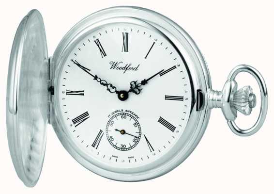 Woodford De acero inoxidable, esfera blanca, caja de cazador completo, reloj de bolsillo 1001
