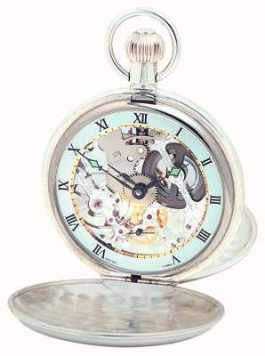 Woodford llanura de plata esterlina reloj de bolsillo suizo esqueleto 1003