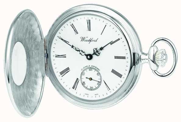Woodford Plata de ley, caso abierto, esfera blanca, reloj de bolsillo mecánico 1068