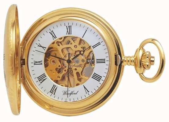 Woodford El | medio cazador | chapado en oro | esqueleto | reloj de bolsillo | 1021