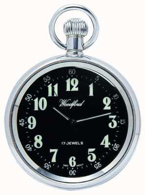 Woodford El reloj mecánico, de cara abierta de bolsillo, de acero inoxidable, esfera de color negro 1040