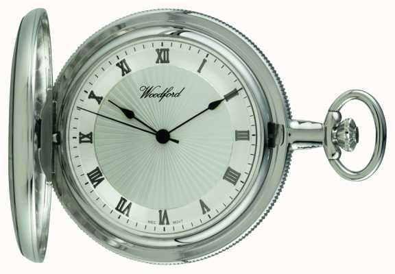 Woodford Chrome, esfera de plata, llena de cazadores, reloj de bolsillo mecánico 1054