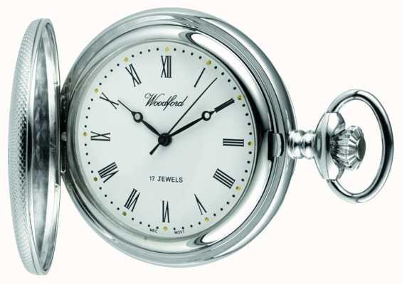 Woodford Chrome, esfera blanca, medio cazador, reloj de bolsillo mecánico 1055