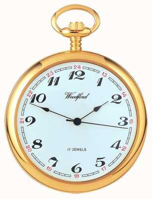 Woodford Esfera blanca, reloj de bolsillo árabe, chapado en oro, mecánico 1031