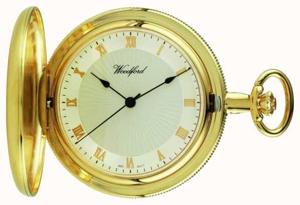 Woodford Gold-placa, llena de cazadores, reloj de bolsillo de línea blanca 1053