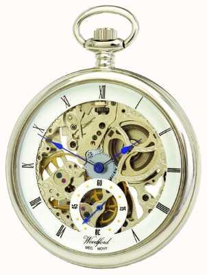 Woodford Chrome, esfera esqueleto blanco, reloj de bolsillo mecánico 1043