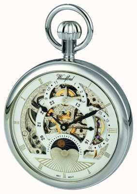 Woodford Chrome, esfera esqueleto, reloj de bolsillo de doble huso horario 1050