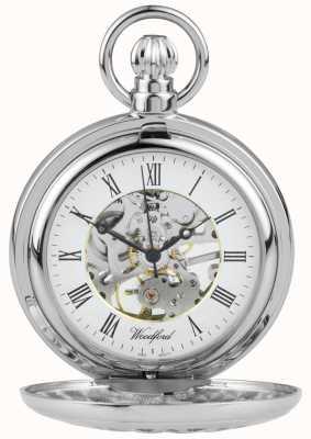 Woodford De acero inoxidable medio cazador de flores de diseño reloj de bolsillo 1052