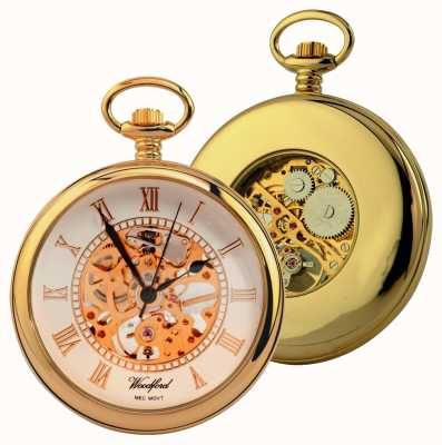 Woodford Gold-placa, esfera esqueleto blanco, con la cara abierta, reloj de bolsillo 1030
