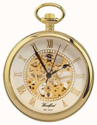 Woodford El | cara abierta | chapado en oro | esqueleto | reloj de bolsillo | 1030