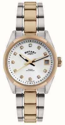 Reloj Mujer Rotary Dos Tonos Set de Cristal Esfera Blanca LB02662/02