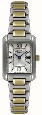 Rotary Dos tonos de las señoras, placa de oro y de acero inoxidable, perla esfera del reloj LB02651/41
