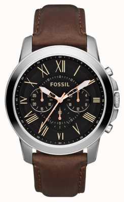 Fossil Para hombre negro de línea de acero inoxidable correa de cuero marrón crono FS4813