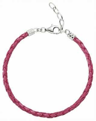 Chamilia Un tamaño de color rosa pulsera de cuero trenzado metálico 1030-0112