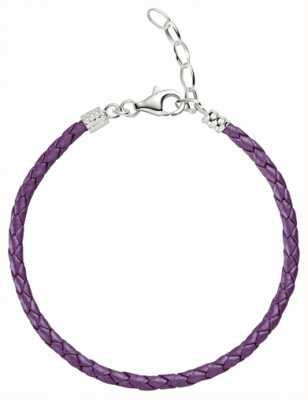Chamilia Un tamaño metálica púrpura pulsera de cuero trenzado 1030-0113